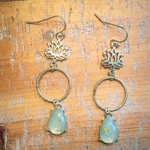 Green + Gold Speckled Earrings